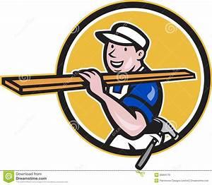 Carpenter Worker Carrying Timber Circle Cartoon Stock
