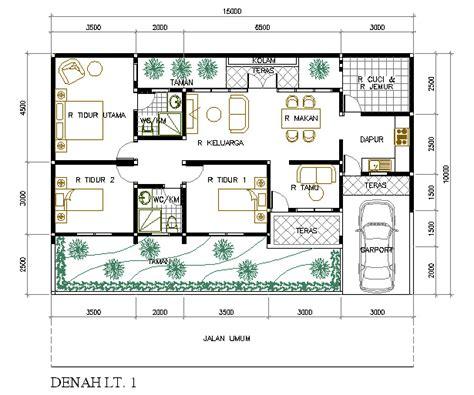gambar denah rumah minimalis  lantai   kamar tidur