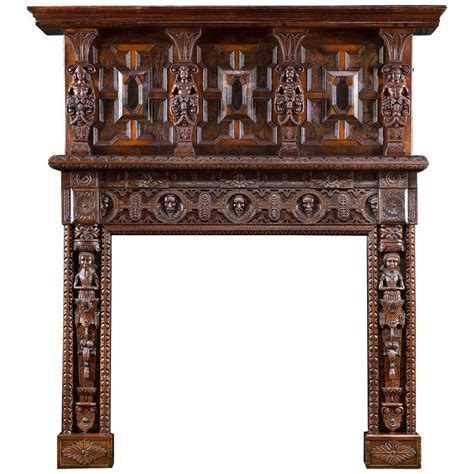 jacobean style carved oak antique fireplace and jacobean style carved oak antique