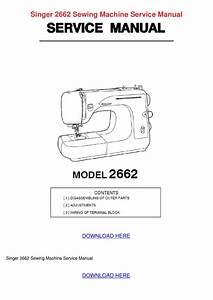Singer 2662 Sewing Machine Service Manual By Willardthao