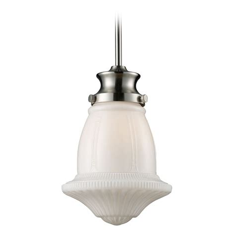 schoolhouse pendant light elk lighting schoolhouse pendants satin nickel led mini