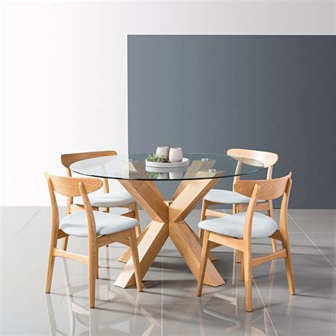 Dining Table by Oscar Dining Table Glass Solid Oak 130cm