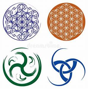Set Of Celtic Symbols And Flower Of Life Stock Photography ...