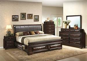 Glory, Furniture, G8875, Six, Drawer, Upholstered, Bedroom, Set, In, Cappuccino