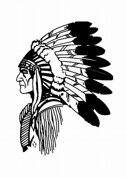 Native American Coloring Simple Profile Americans Indian