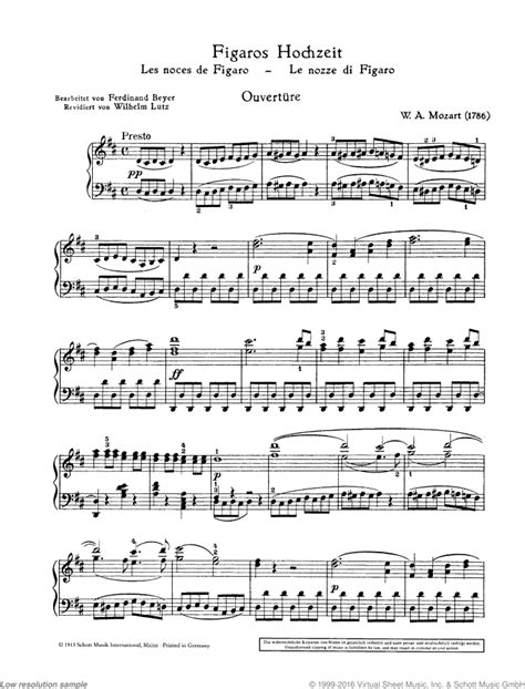 mozart the marriage of figaro k 492 overture sheet