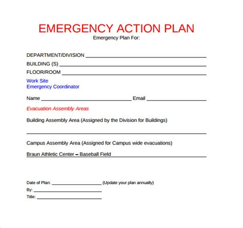 sample emergency action plan templates sample templates