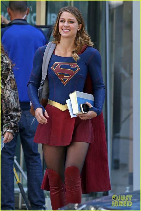 melissa benoist   smiles  filming supergirl