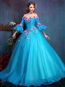 100%real Royal Embroidery Blue Flower Ball Gown Medieval ...