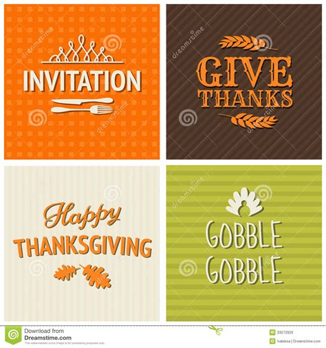 thanksgiving cards collection royalty  stock images
