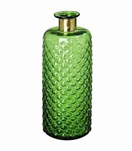 Vase, Haute, Design, En, Verre, Vert, Et, Laiton, Dor, U00e9
