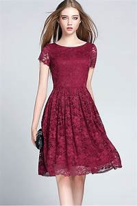 b5491a14 KETTYMORE WOMEN HOLLOW ROUND NECK SHORT SLEEVES LACE SKAT - Kettymore
