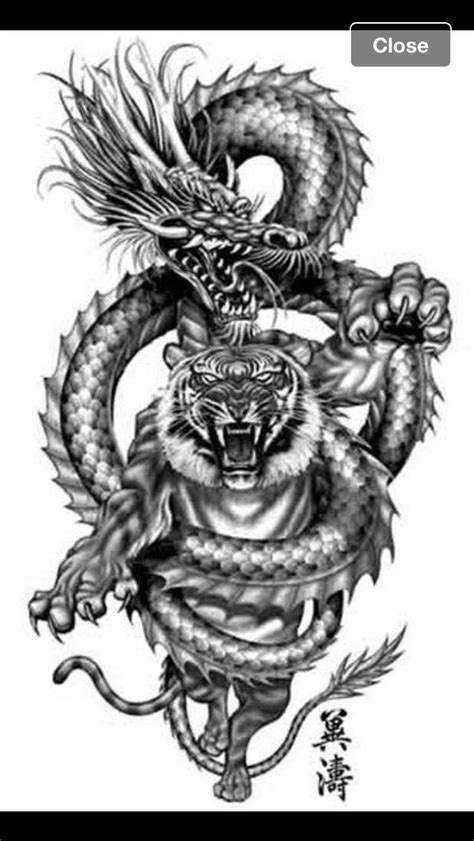 20 Matching Tattoo Ideas For Sisters | Dragon tiger tattoo, Chinese dragon tattoos, Tribal