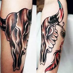 70 Bull Skull Tattoo Designs For Men - Western Ideas