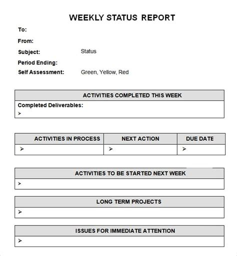 weekly status report templates word excel  formats