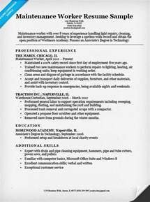 resume objective exles building maintenance maintenance worker resume sle resume companion