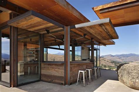 cuisine etats unis maison bois contemporaine isolée dans les montagnes