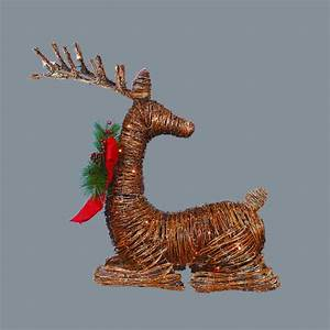 30, U0026quot, Lighted, Rattan, Reindeer, With, Red, Bow, And, Pine, Cones, Christmas, Outdoor, Decoration