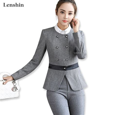 Aliexpress Com Buy Lenshin Pieces Set Gray Pant Suits Office Lady Design Formal Business