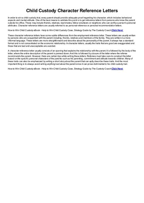 child custody character reference letters