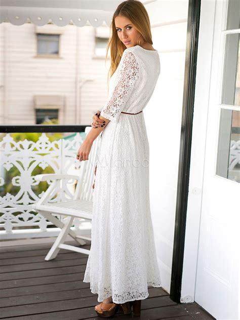 robe longue blanche femmes maxi dress  rond