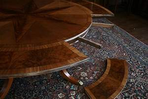 Round, Mahogany, Dining, Table, With, Leaves, Antique, Reproduction