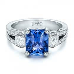 blue sapphire engagement ring custom blue sapphire and engagement ring 100703