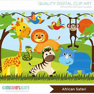 African Safari Animals Vector Clipart | Baby Girl Quilts ...