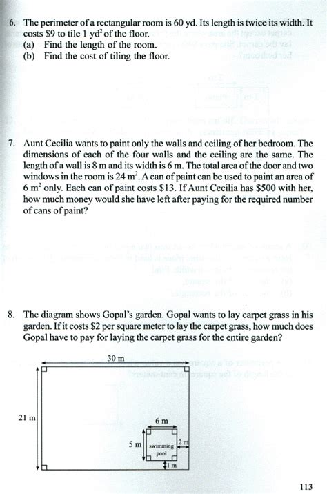 area and perimeter word problems worksheets for grade 5