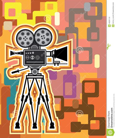 Abstract Background Movie Projector Film Camera Vector