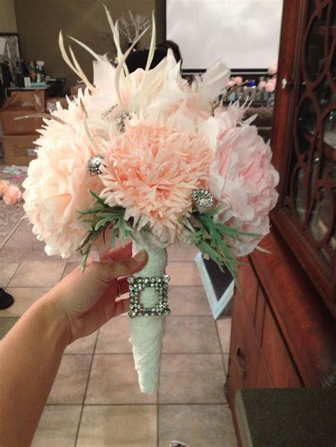 diy coffee filter flower bridal bouquet roughly