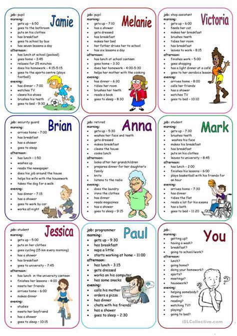 daily routines speaking cards worksheet  esl