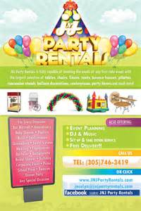 miami party rentals flyer design jnj party rentals of hialeah