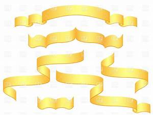 Golden blank banners and ribbons Royalty Free Vector Clip ...