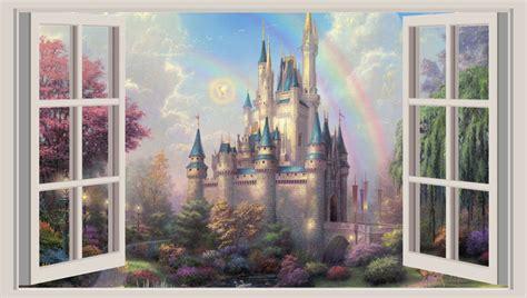 huge 3d window wall art sticker princess castle fantasy