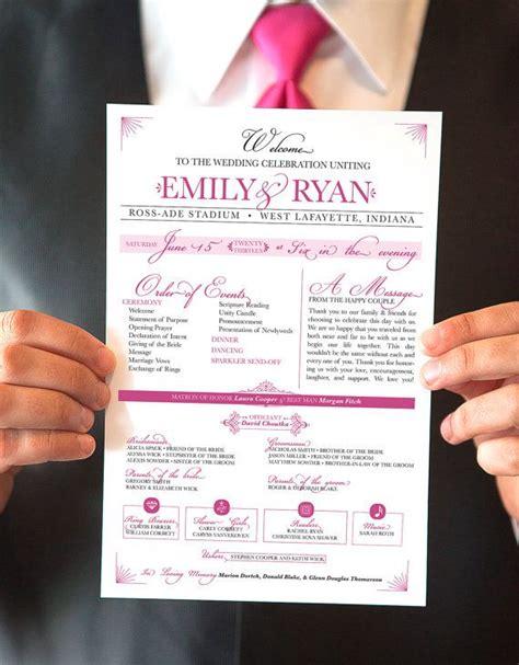 printable wedding program raspberry  page event