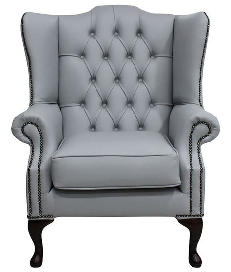 grey leather chesterfield mallory wing chair designersofas4u