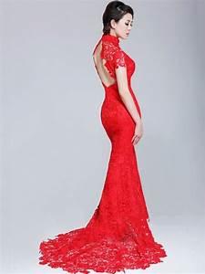 Red Long Lace Qipao/Cheongsam Mermaid Chinese Wedding ...
