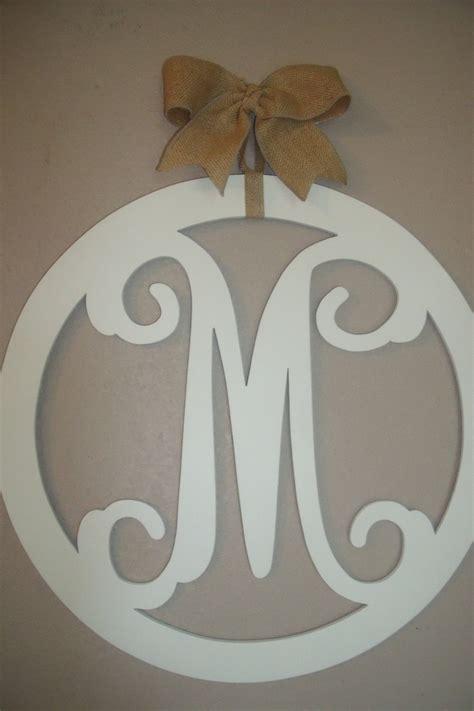 wood monogram   vine letters burlap bow initial door hanger   etsy wooden