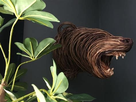 angry bear  images twig art willow weaving sculpture