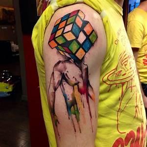 Watercolor Rubik cube tatoo - TattooMagz