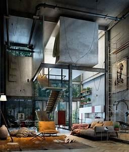 loft industriel une selection d39interieurs chics et bohemes With tapis de course avec canapé industriel