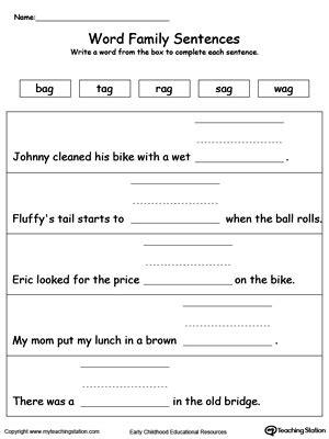 build  sentence og word family myteachingstationcom