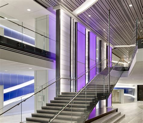 Highlights bespoke wall panel system with an engineered attachment framework. LED RGB Backlit Wall Panels Inside Healthcare Lobby