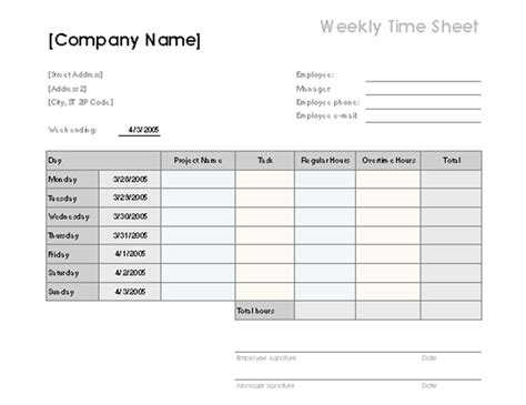 weekly time sheet  tasks  overtime