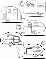 Camper Coloring Pages Campers Trailers Rv Retro Teardrop Trailer Adult Camping Etsy Happy Printable Colouring Travel Quilt Theme Camp Books sketch template