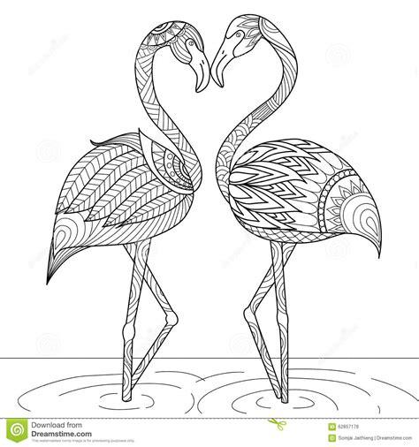hand drawn flamingo couple zentangle style stock vector