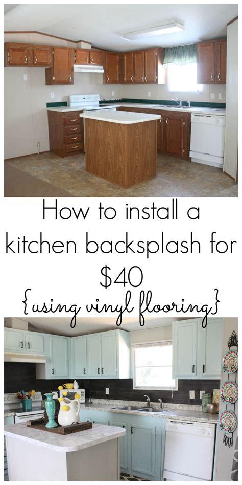 Diy Kitchen Tile Backsplash by Our 40 Backsplash Using Vinyl Flooring Diy Home