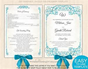 program fans for wedding malibu blue vintage scroll fan program template paddle