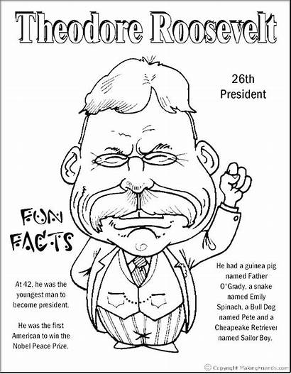Presidents Roosevelt Theodore Coloring Pages President Sheets